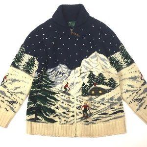 Ralph Lauren winter ski scene vtg sweater cardigan